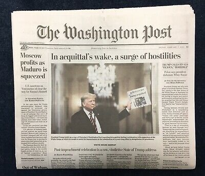 Mint Washington Post Trump Acquitted Trump Holding Newspaper 2/7/20 Shipped Flat