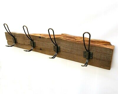 """Handmade 25"""" Rustic Farmhouse Wall Mounted Coat Rack with x4 Bronze Wire Hooks"""