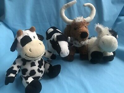 """Cows Mixed Brown White Black Spotted Lot Of 4 Stuffed Animal Plush Toy 7"""""""