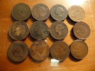 12 Different Canada Large Cent 1181-1920 era With  Blemishes/Damage  SKU#18695