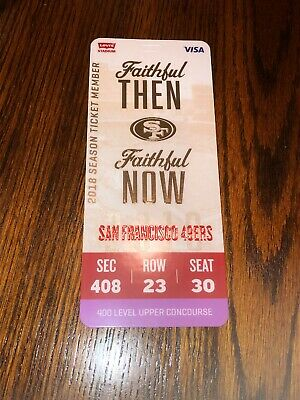 San Francisco 49ers 2018 Season Ticket Member Credential All Games Hard Plastic