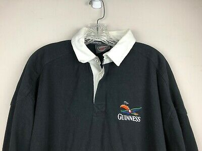 Guinness Toucan Logo Embroidered Men's L/S Rugby Shirt 100% Cotton Black XL