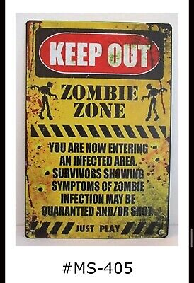 ZOMBIE WARNING DO NOT FEED 30007 BRAND NEW 8 x 11.5 TIN SIGN