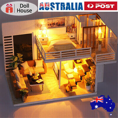 Music DIY Miniature Wooden Doll House Model Kit Kids Furniture Gift 3D LED  ~