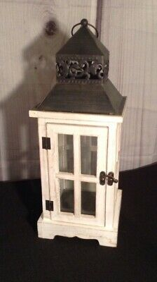 Large White Rustic Farmhouse Shabby Chic Metal Wood Glass Decorative Lantern