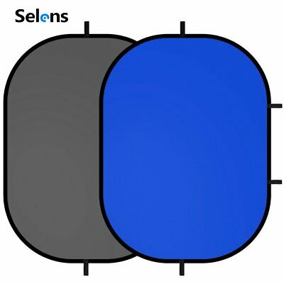 Slens Photo Studio Backdrop Grey/Blue Oval Background Panel Screen Collapsible