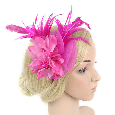 Women Elegant Bridal Headband Hair Clip Accessories Feather Flower Church Hat