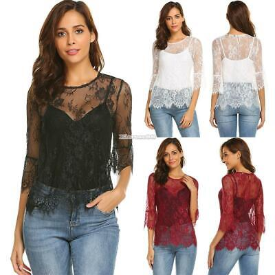 Women O-Neck Sexy Lace Floral Half Sleeve Flare Sleeve Tops ElR8