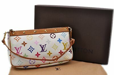 Auth Louis Vuitton Monogram Multicolor Pochette Accessoires White LV Box 91416