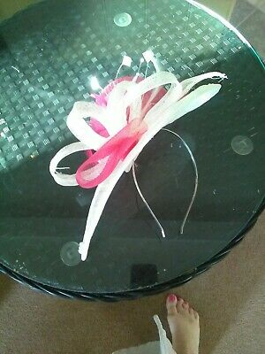 Fascinator  Wedding,Races,Ascot,Hat  ivory raspberry Bride hair band 12 inch
