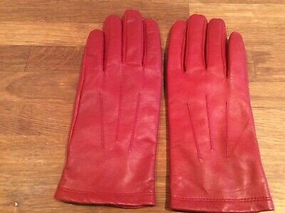 Red 100% Leather Gloves Marks & Spencer With Polyester Lining VGC