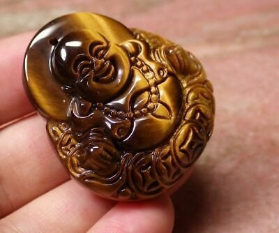 Unique Chinese Tiger Eye jade Laughing Buddha good luck pendant necklace 1 Pc
