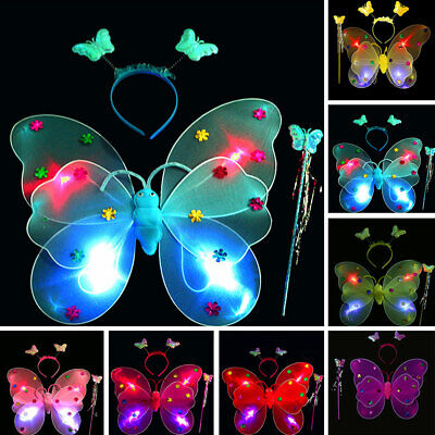 Headwear Children Girls Party Costume Butterfly Fairy Wings Wand Headwear Set