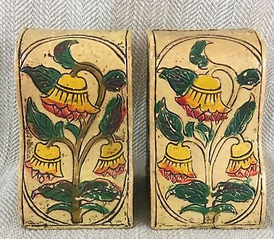 Vintage Bookends Japanese Pottery Sgraffito Hand painted decoration Japan