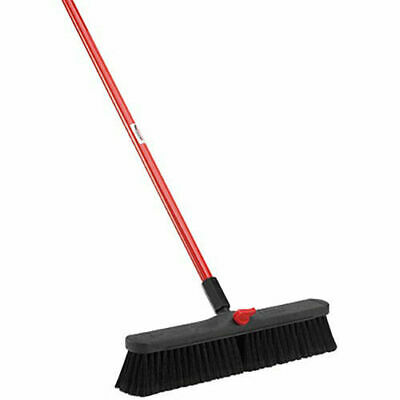 "LIBMAN Push Broom with Resin Block - 18"" - Fine-Duty Bristles, Lot of 4"