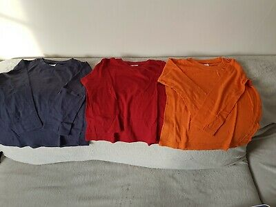 Boys Kids Urban Rascals long Sleeve tops x 3 Blue, Red & Orange - 5yrs