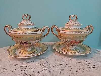 2 x Antique English Porcelain hand painted  fruits pattern Tureens lidded