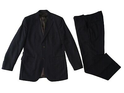 TED BAKER ENDURANCE Black And Navy Pinstripe 2 Piece Suit Size 40R Trousers 34