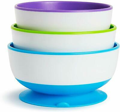Munchkin Stay Put Suction Bowls Strong Suction Kids Baby Bowl Pack of 3 Dinning