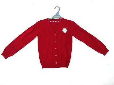 Girls Ex Store Red Cotton School Cardigan Ages 3,4,5,6,7,8,9,10,11,12,13 NEW