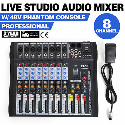 8-Kanal Digital Mic Line Audio Mixer Mischpult USB Channel Fader Knobs Low-noise