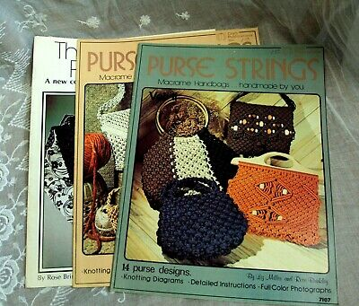 Lot/3 PURSE STRINGS Macrame Handbags Purse Pattern Books ~ 7107 7119 7228