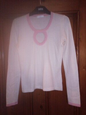 EXD London very pretty cream & pink long sleeve cashmere fine jumper S