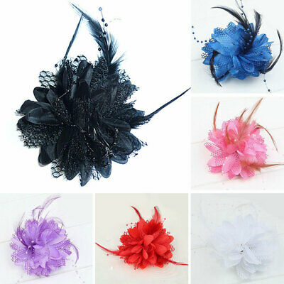 Fascinator pink feather hair wedding bridesmaid hat on alice band 4320