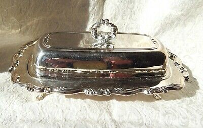 Vintage Butter Dish - Oneida Brand - Footed - With Glass Insert