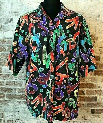 VTG 80's 90's Hawaiian Tribal Black Rainbow Button Down Shirt Men's 2X / 3X Rare