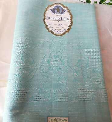 """Vintage Linen Tablecloth - Made In Ireland - New In Pkg - Aqua 52 X 68"""" Beauty"""