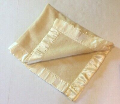 "Vintage Wool Satin Trim Baby Blanket 40"" X 50"" Read"