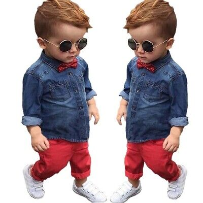 Toddler Kids Baby Boys Jeans Jacket Tops Pants Clothes Outfit Sets 3-8T