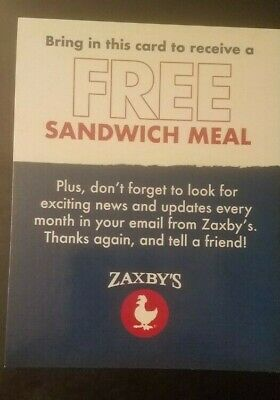 (1) Zaxby's  FREE  Samdwich Meal Voucher, NO EXPIRATION