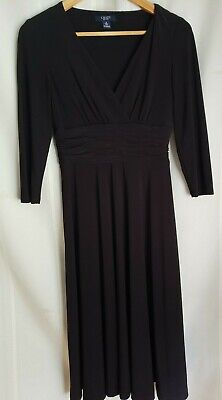CHAPS/RALPH LAUREN 3/4 Sleeve BLACK Wide Band Empire Waist Full Skirt Dress (S)
