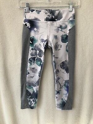 Athleta Girl Size Large 12 Watercolor Capri Crop Legging Gray Workout Athletic