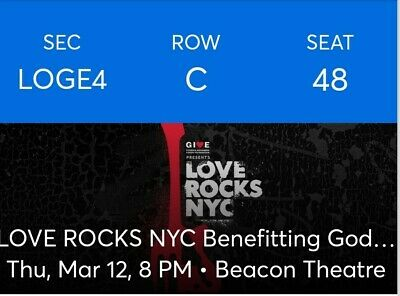 2 LOGE Tickets Love Rocks NYC Dave Matthews C Robinson  - LOGE4 . $630 PAIR