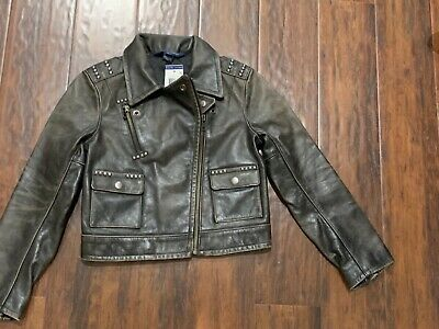 Polo Ralph Lauren Girls Kids moto leather jacket S7 $595