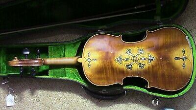 Violin-Fiddle-Antique-Vintage-Used-4/4-inlaid Back