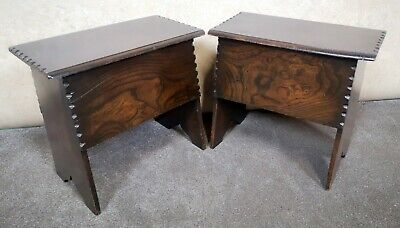 Pair Of Solid Oak Stools With Hinged Opening Tops