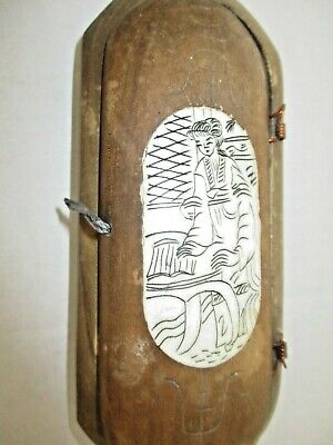 Antique CHINESE Wood Carved Eyeglass (?) Box w/Bovine Insets WOMAN READING Rare!