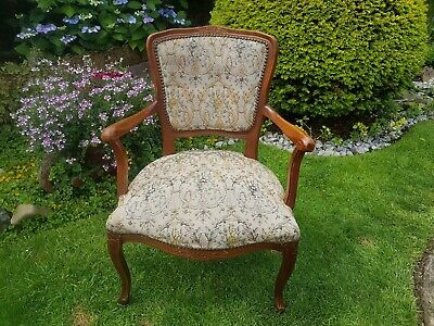 Antique French Louis XV Style Walnut Tapestry Chair Armchair Bedroom Chair