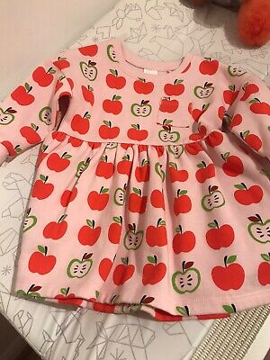 Next Jumper Sweat Dress Girls Pink With Red Apples 9-12 Months