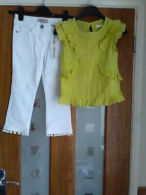 BNWT girls girls white cropped flare jeans and green sleeveless blouse age 8Next