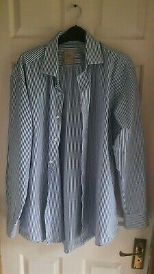 Paul Costelloe Mens Blue/White Striped Shirt Size 16.5  Excellent Condition