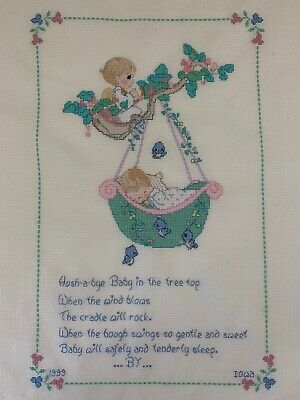 Vintage Hush-a-bye Baby Finished Cross Stitch Ivory Crib Blanket Satin Binding
