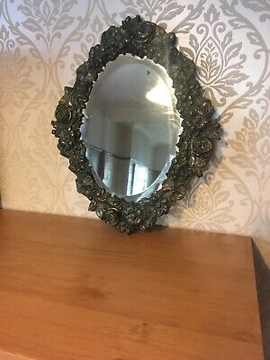 Antique Arts And Crafts 1900's Copper Embossed Mirror