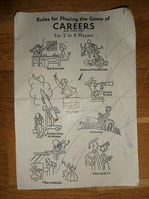 Waddingtons 'Careers' Rules Instruction Booklet For 1957 Board Game, Vintage