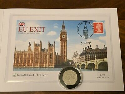 🇬🇧LIMITED EDITION:EU Exit First Day Stamp Cover+2020 BREXIT 50p Coin.SOLD OUT.