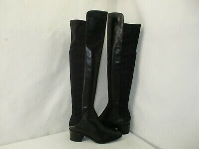 VIA SPIGA Black Leather Stretch Zip Over The Knee High Boots Womens Size 7.5 M